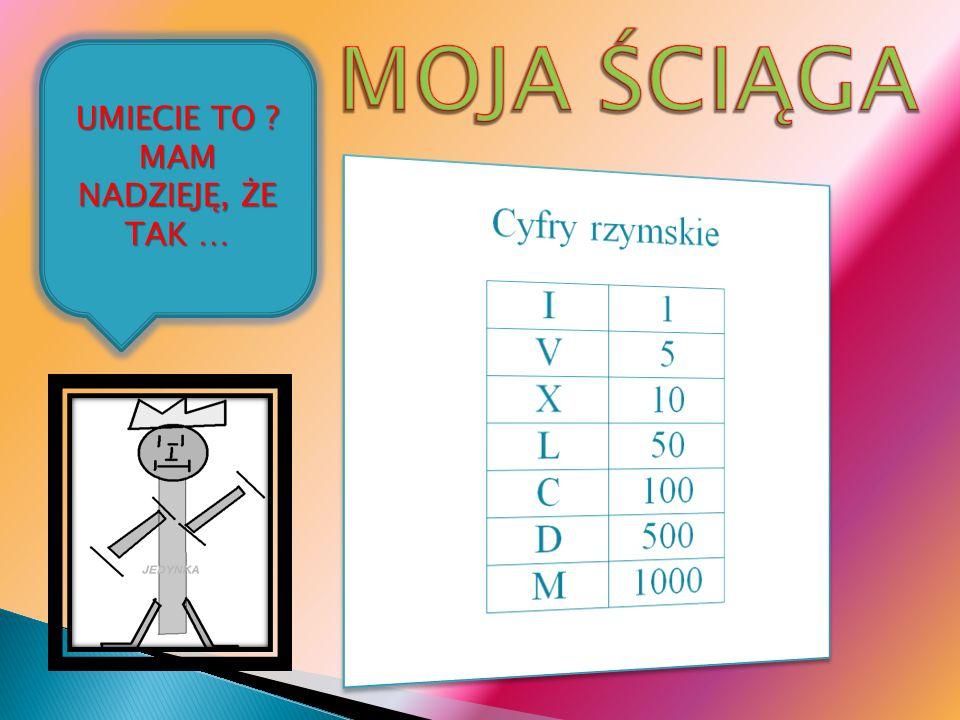 Poszczególne cyfry pochodzą od: I (1) – od pionowej kreski, oznaczającej jeden element V (5) – jest (górną) połową znaku X (10) L (50) – jest (dolną) połową znaku C (100) C (100) – z łac.