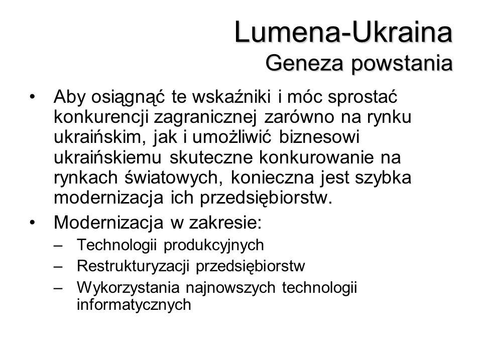 Lumena-Ukraina Geneza powstania Aby osiągnąć te wskaźniki i móc sprostać konkurencji zagranicznej zarówno na rynku ukraińskim, jak i umożliwić bizneso