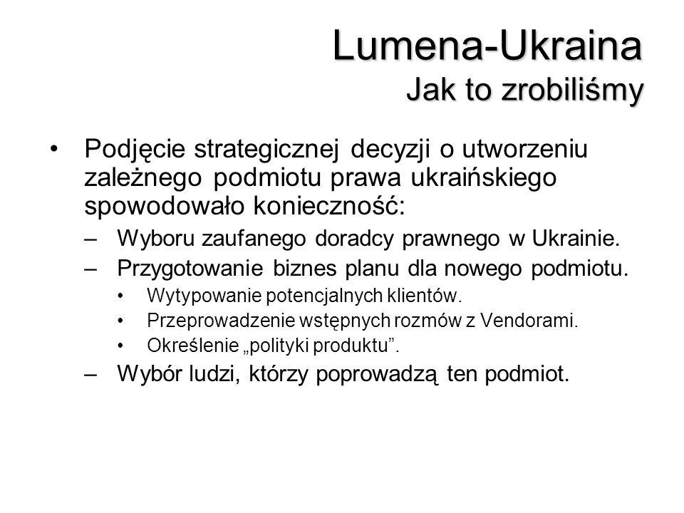 Lumena-Ukraina Jak to zrobiliśmy Podjęcie strategicznej decyzji o utworzeniu zależnego podmiotu prawa ukraińskiego spowodowało konieczność: –Wyboru za