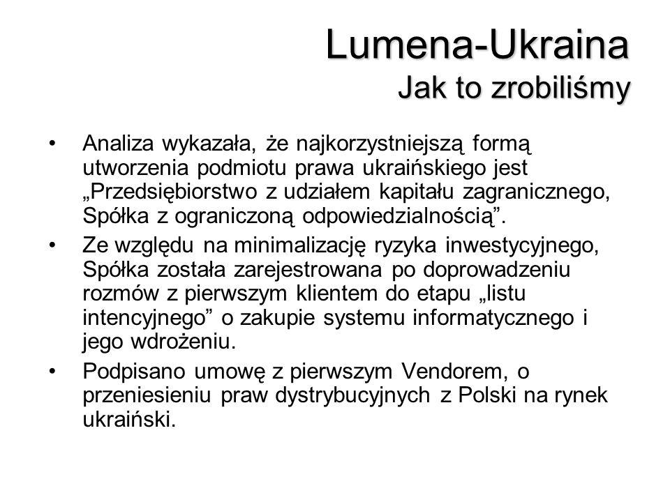 Lumena-Ukraina Jak to zrobiliśmy Analiza wykazała, że najkorzystniejszą formą utworzenia podmiotu prawa ukraińskiego jest Przedsiębiorstwo z udziałem