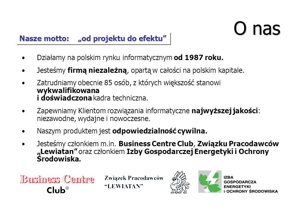 O nas Nasze motto: od projektu do efektu Działamy na polskim rynku informatycznym od 1987 roku. Jesteśmy firmą niezależną, opartą w całości na polskim