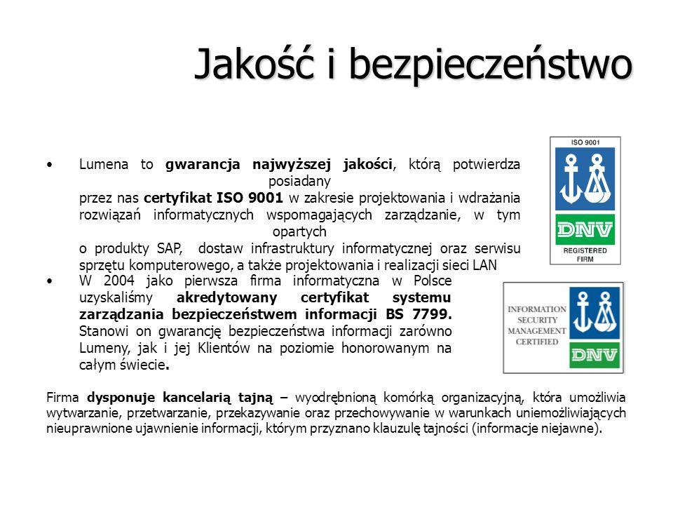 Jakość i bezpieczeństwo Lumena to gwarancja najwyższej jakości, którą potwierdza posiadany przez nas certyfikat ISO 9001 w zakresie projektowania i wd