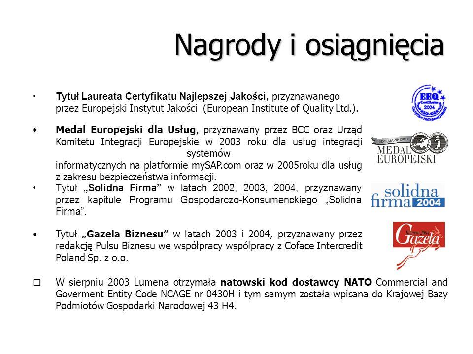 Nagrody i osiągnięcia Medal Europejski dla Usług, przyznawany przez BCC oraz Urząd Komitetu Integracji Europejskie w 2003 roku dla usług integracji sy