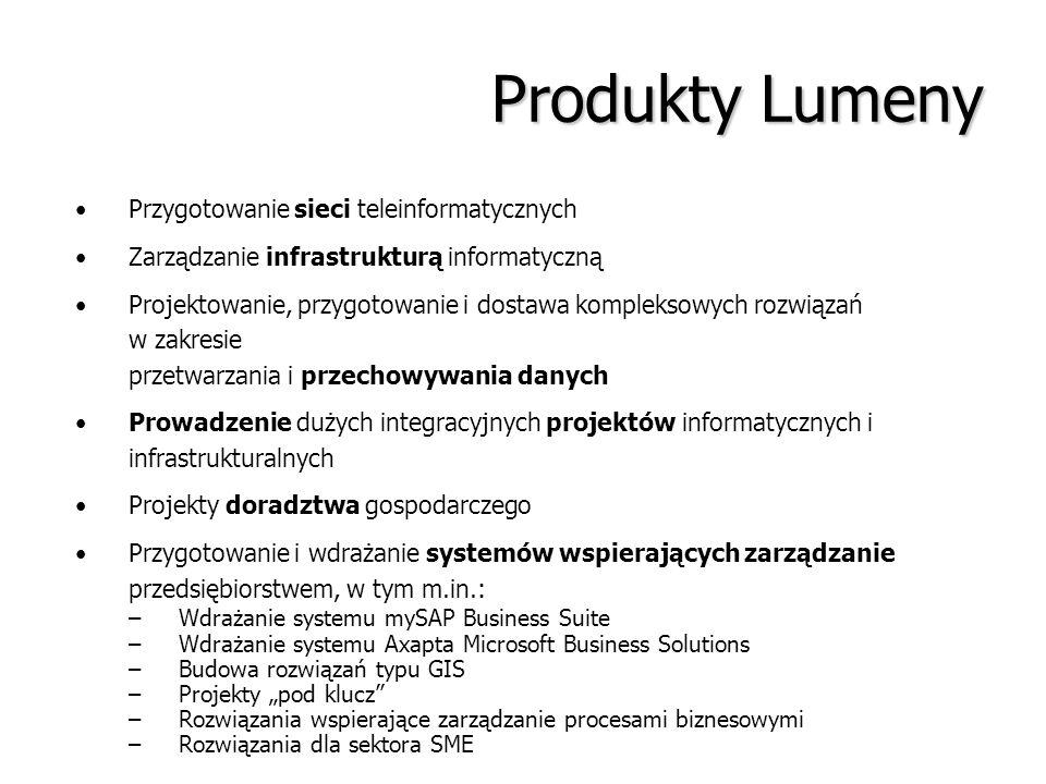 Produkty Lumeny Przygotowanie sieci teleinformatycznych Zarządzanie infrastrukturą informatyczną Projektowanie, przygotowanie i dostawa kompleksowych
