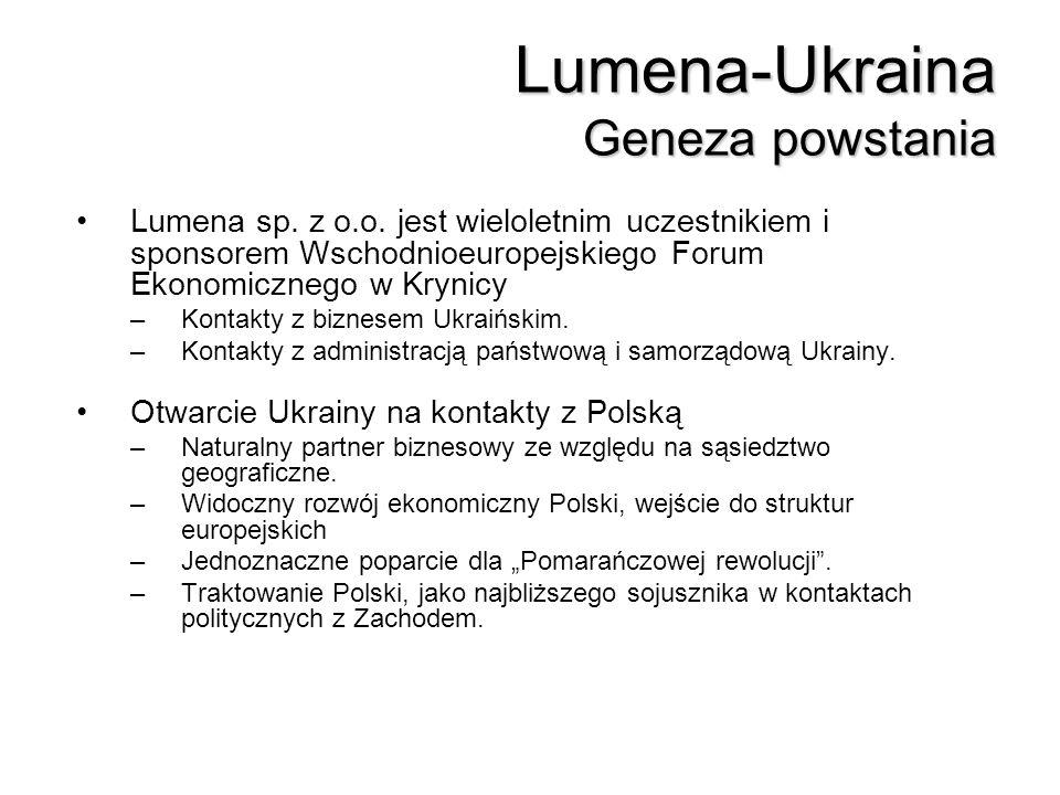 Lumena-Ukraina Geneza powstania Lumena sp. z o.o. jest wieloletnim uczestnikiem i sponsorem Wschodnioeuropejskiego Forum Ekonomicznego w Krynicy –Kont
