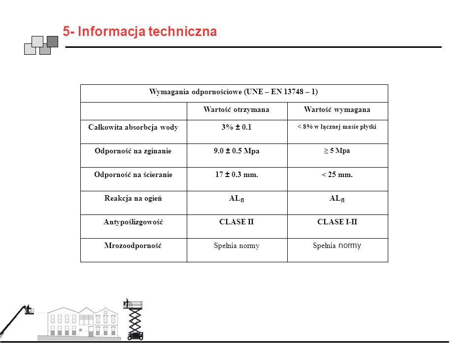 5- Informacja techniczna Wymagania odpornościowe (UNE – EN 13748 – 1) Całkowita absorbcja wody Wartość otrzymanaWartość wymagana 3% ± 0.1 < 8% w łączn
