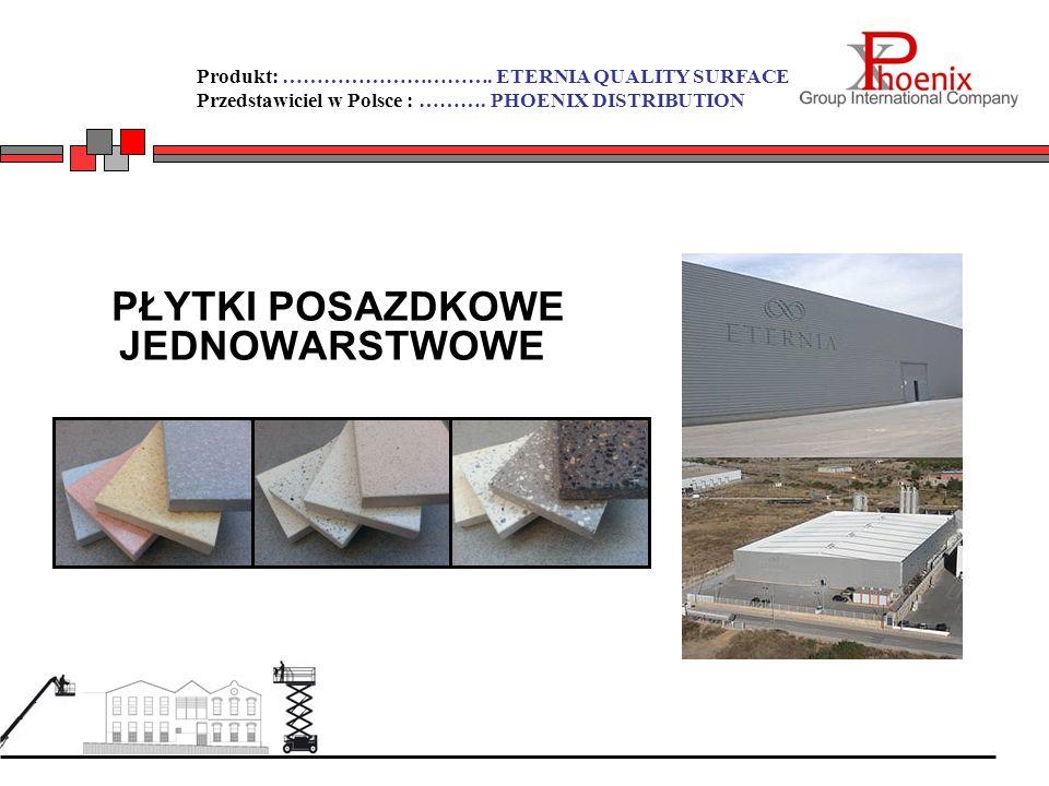 Produkt: …………………………. ETERNIA QUALITY SURFACE Przedstawiciel w Polsce : ………. PHOENIX DISTRIBUTION PŁYTKI POSAZDKOWE JEDNOWARSTWOWE
