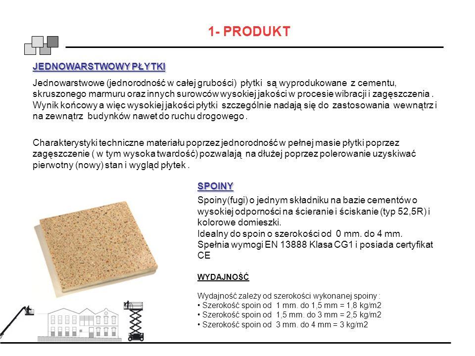 1- PRODUKT JEDNOWARSTWOWY PŁYTKI Jednowarstwowe (jednorodność w całej grubości) płytki są wyprodukowane z cementu, skruszonego marmuru oraz innych sur