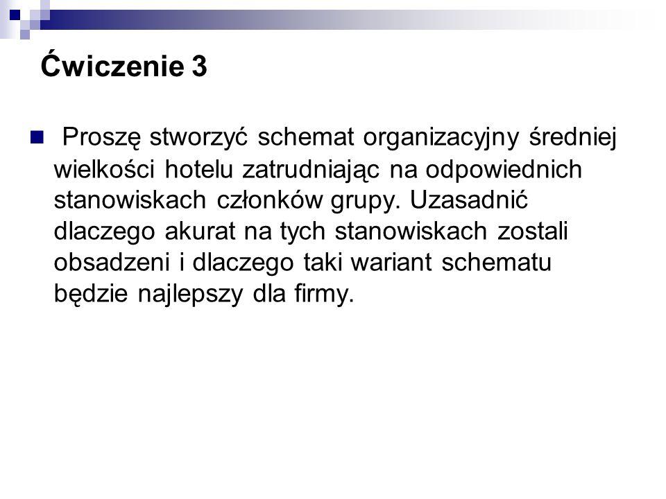 Ćwiczenie 3 Proszę stworzyć schemat organizacyjny średniej wielkości hotelu zatrudniając na odpowiednich stanowiskach członków grupy. Uzasadnić dlacze