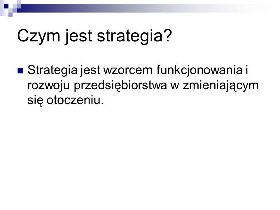 Strategia jest wzorcem funkcjonowania i rozwoju przedsiębiorstwa w zmieniającym się otoczeniu.