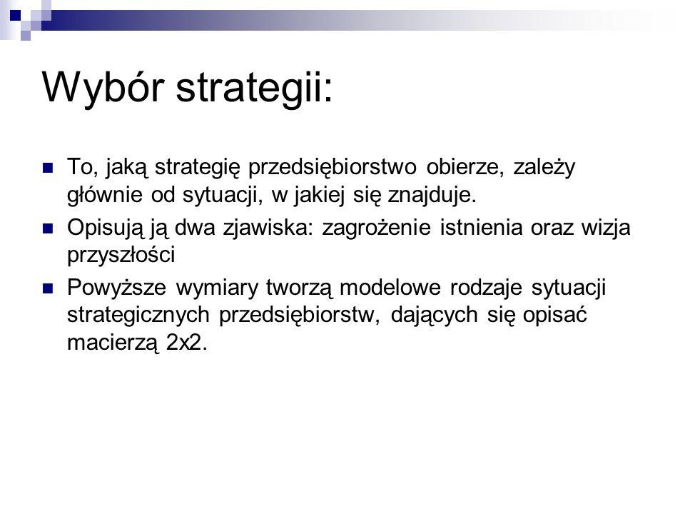 Wybór strategii: To, jaką strategię przedsiębiorstwo obierze, zależy głównie od sytuacji, w jakiej się znajduje. Opisują ją dwa zjawiska: zagrożenie i