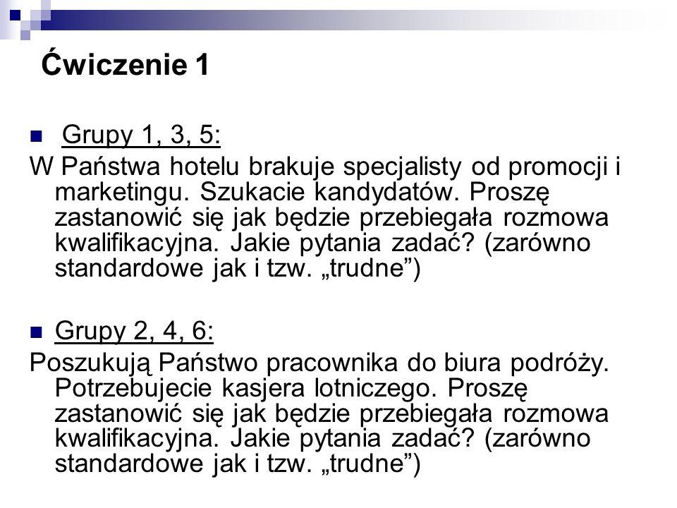 Ćwiczenie 1 Grupy 1, 3, 5: W Państwa hotelu brakuje specjalisty od promocji i marketingu.