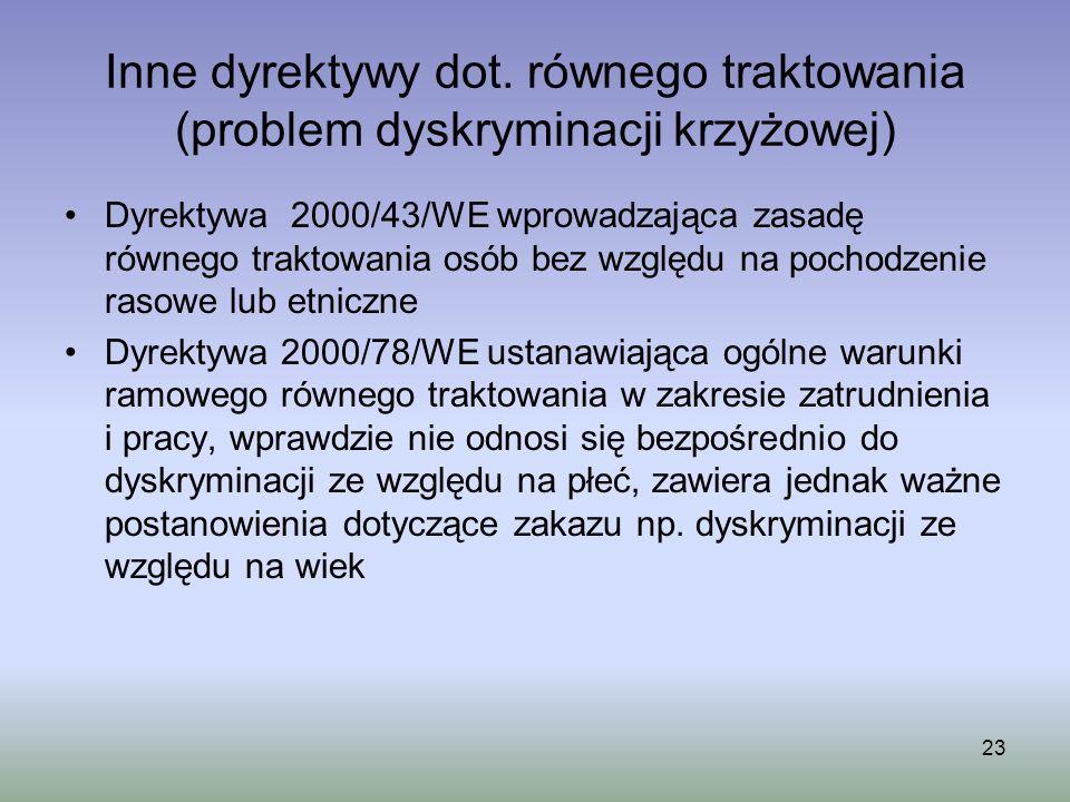 Inne dyrektywy dot. równego traktowania (problem dyskryminacji krzyżowej) Dyrektywa 2000/43/WE wprowadzająca zasadę równego traktowania osób bez wzglę