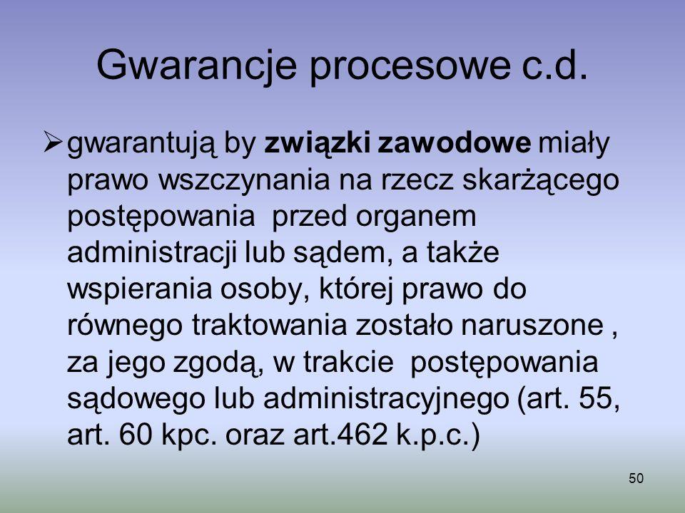 50 Gwarancje procesowe c.d. gwarantują by związki zawodowe miały prawo wszczynania na rzecz skarżącego postępowania przed organem administracji lub są