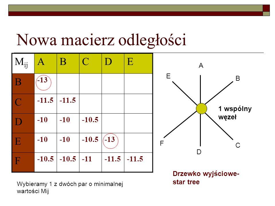 Nowa macierz odległości M ij ABCDE B -13 C -11.5 D -10 -10.5 E -10 -10.5-13 F -10.5 -11-11.5 Drzewko wyjściowe- star tree A B C D E F 1 wspólny węzeł
