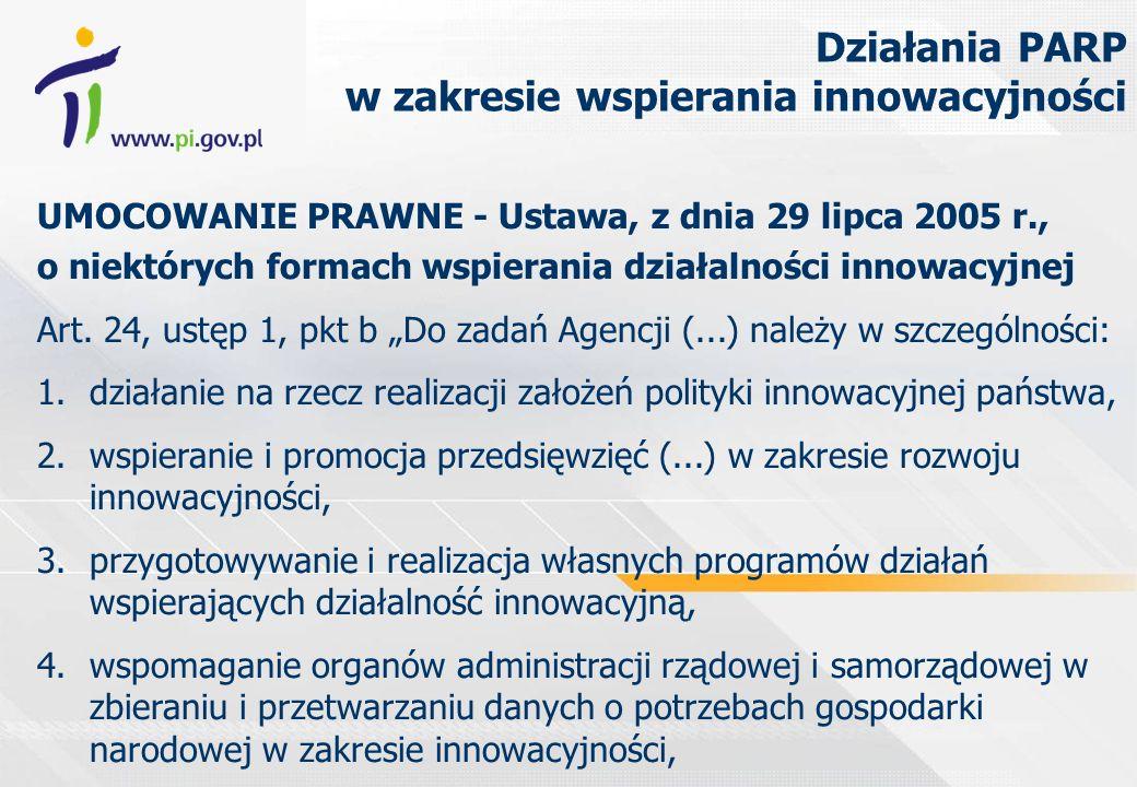 UMOCOWANIE PRAWNE - Ustawa, z dnia 29 lipca 2005 r., o niektórych formach wspierania działalności innowacyjnej Art. 24, ustęp 1, pkt b Do zadań Agencj
