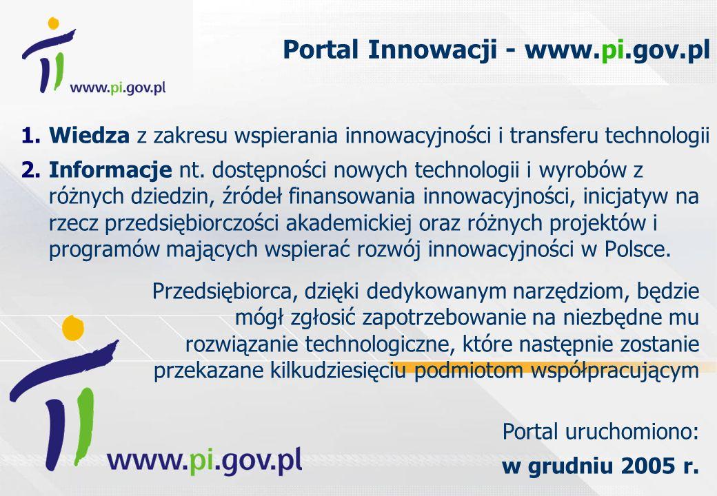 Portal Innowacji - www.pi.gov.pl 1.Wiedza z zakresu wspierania innowacyjności i transferu technologii 2.Informacje nt. dostępności nowych technologii