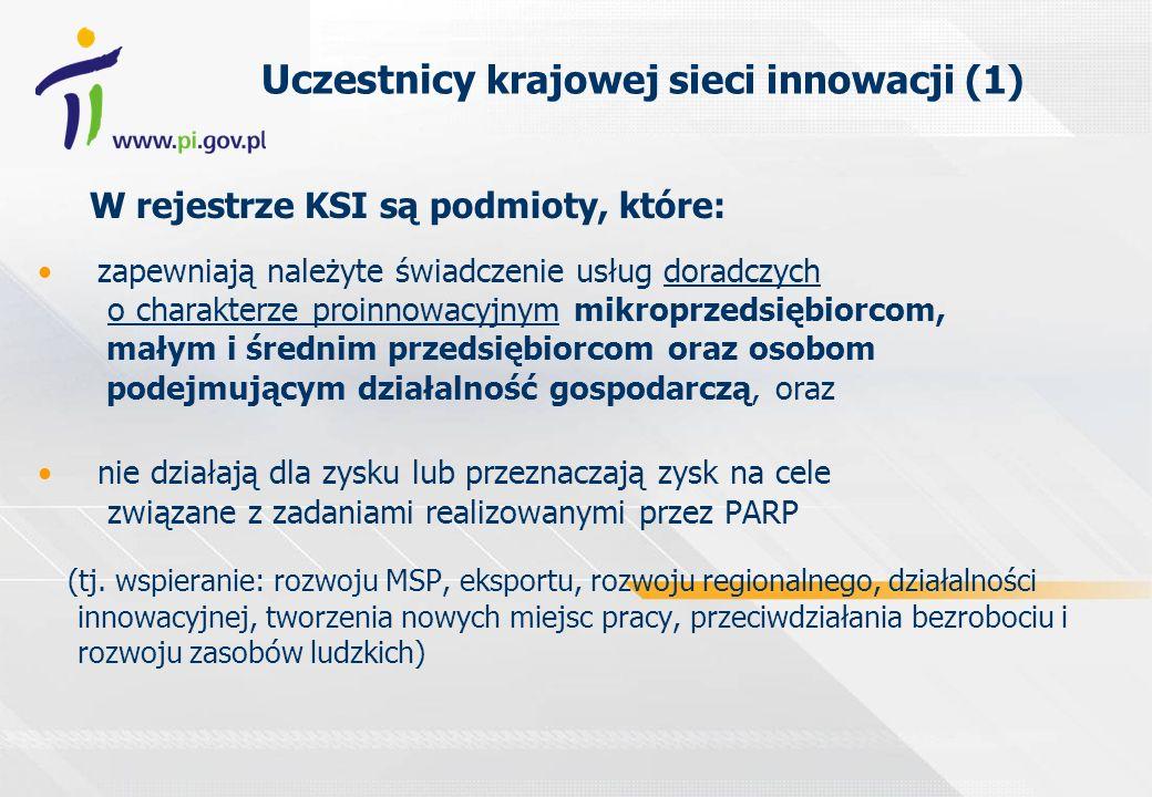 Uczestnicy krajowej sieci innowacji (1) W rejestrze KSI są podmioty, które: zapewniają należyte świadczenie usług doradczych o charakterze proinnowacy