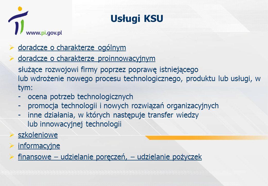 Krajowy System Usług dla Małych i Średnich Przedsiębiorców KSU to 183 zarejestrowanych organizacji, które świadczą usługi w 192 lokalizacjach na terenie całej Polski Wśród zarejestrowanych są: 145 w zakresie usług doradczych o charakterze ogólnym 18 w zakresie usług doradczych o charakterze proinnowacyjnym 159 w zakresie usług szkoleniowych 142 w zakresie usług informacyjnych 15 w zakresie usług finansowych - udzielanie poręczeń 42 w zakresie usług finansowych - udzielanie pożyczek stan na dzień 31 grudnia 2005 r.