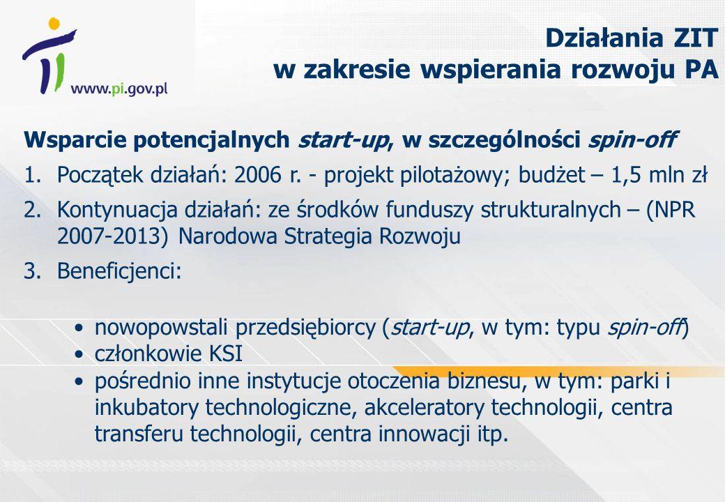 Wsparcie potencjalnych start-up, w szczególności spin-off 1.Początek działań: 2006 r. - projekt pilotażowy; budżet – 1,5 mln zł 2.Kontynuacja działań: