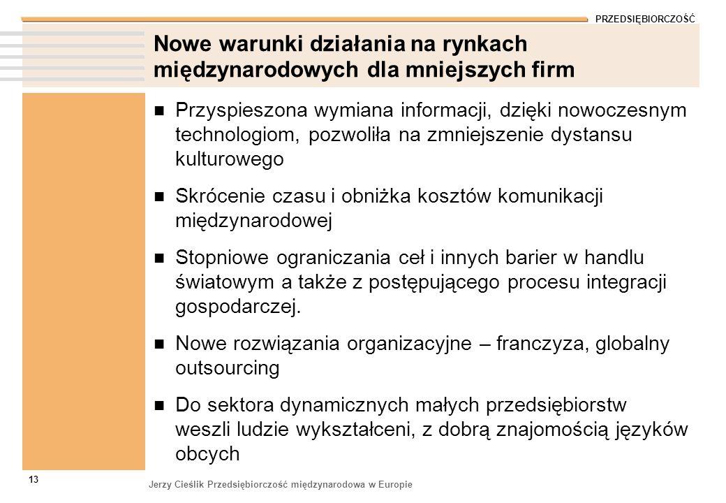 PRZEDSIĘBIORCZOŚĆ Jerzy Cieślik Przedsiębiorczość międzynarodowa w Europie 13 Nowe warunki działania na rynkach międzynarodowych dla mniejszych firm P