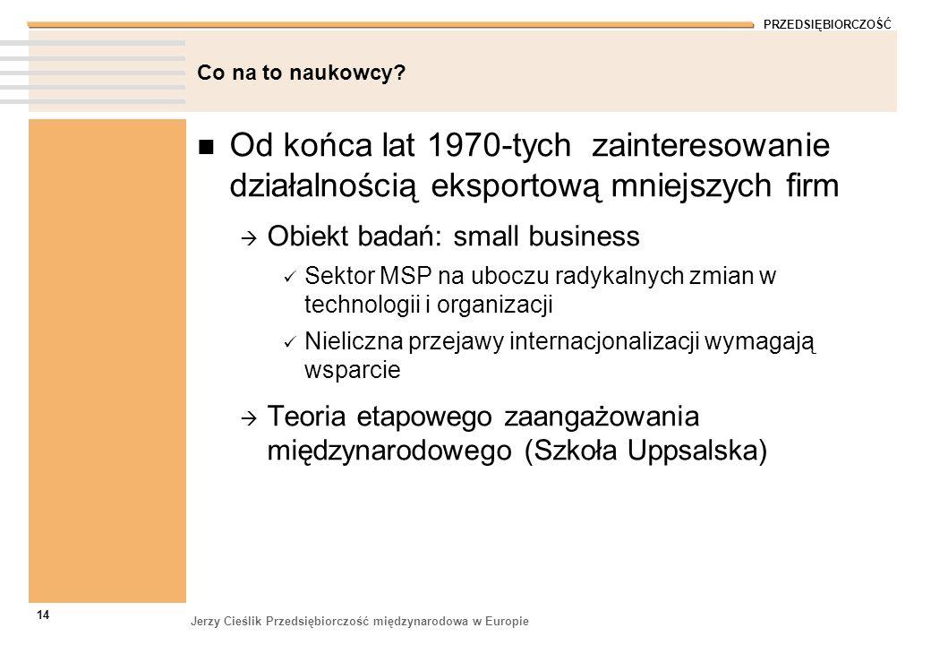 PRZEDSIĘBIORCZOŚĆ Jerzy Cieślik Przedsiębiorczość międzynarodowa w Europie 14 Co na to naukowcy? Od końca lat 1970-tych zainteresowanie działalnością