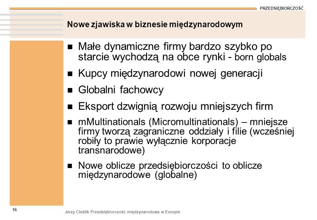 PRZEDSIĘBIORCZOŚĆ Jerzy Cieślik Przedsiębiorczość międzynarodowa w Europie 16 Nowe zjawiska w biznesie międzynarodowym Małe dynamiczne firmy bardzo sz