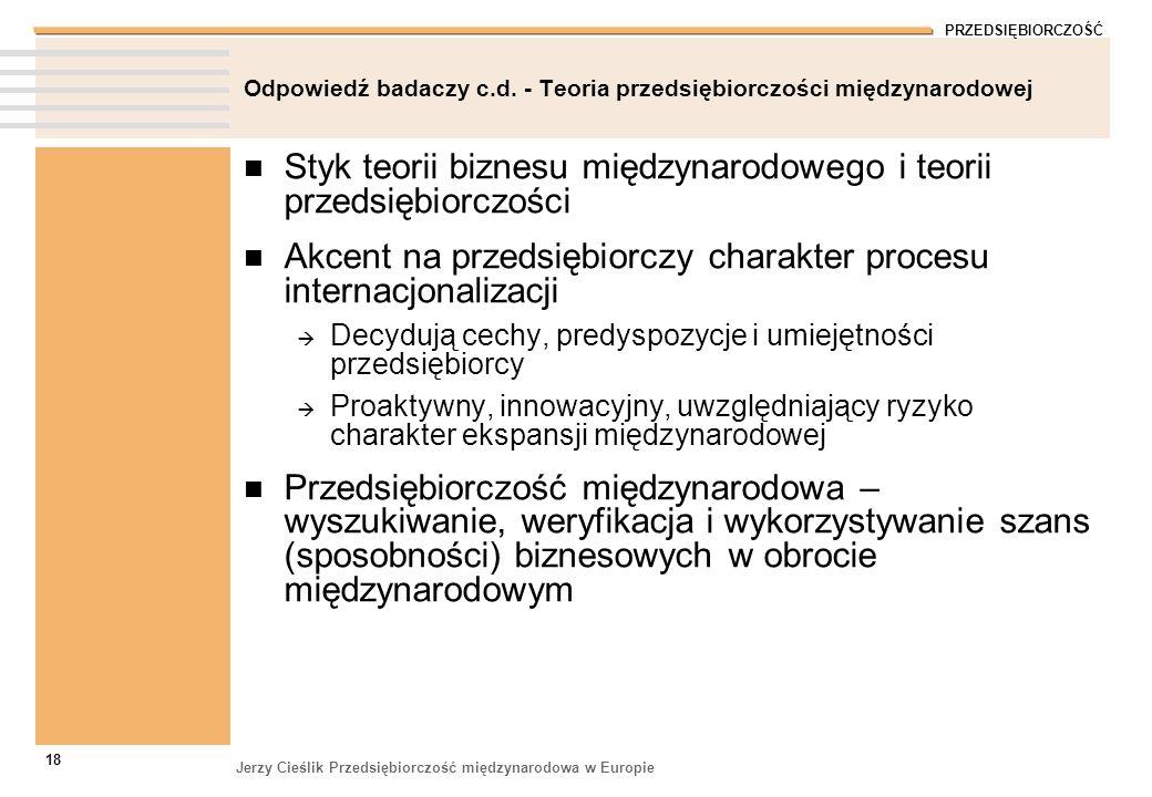 PRZEDSIĘBIORCZOŚĆ Jerzy Cieślik Przedsiębiorczość międzynarodowa w Europie 18 Odpowiedź badaczy c.d. - Teoria przedsiębiorczości międzynarodowej Styk