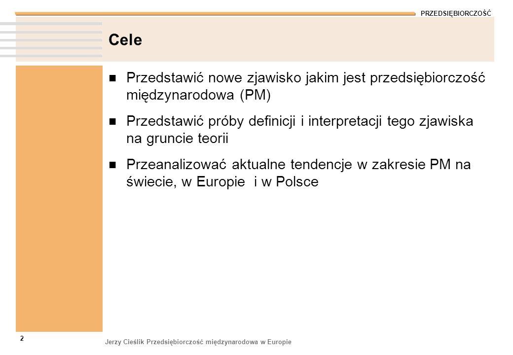PRZEDSIĘBIORCZOŚĆ Jerzy Cieślik Przedsiębiorczość międzynarodowa w Europie 2 Cele Przedstawić nowe zjawisko jakim jest przedsiębiorczość międzynarodow