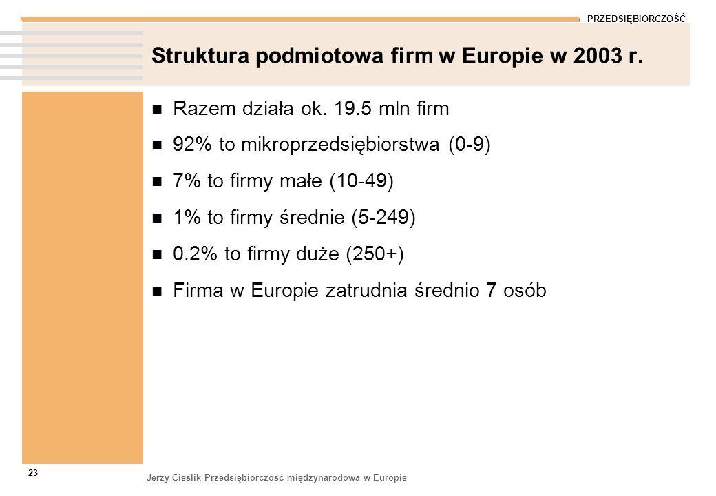 PRZEDSIĘBIORCZOŚĆ Jerzy Cieślik Przedsiębiorczość międzynarodowa w Europie 23 Struktura podmiotowa firm w Europie w 2003 r. Razem działa ok. 19.5 mln