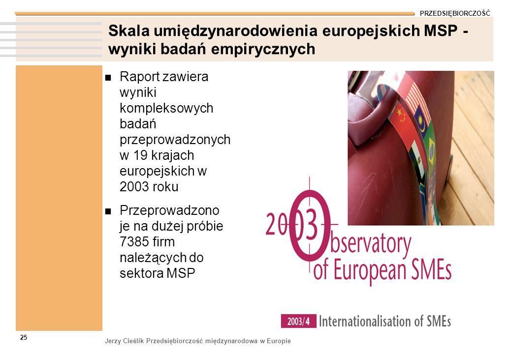 PRZEDSIĘBIORCZOŚĆ Jerzy Cieślik Przedsiębiorczość międzynarodowa w Europie 25 Skala umiędzynarodowienia europejskich MSP - wyniki badań empirycznych R