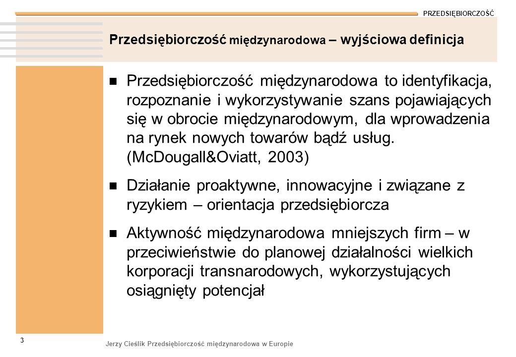 PRZEDSIĘBIORCZOŚĆ Jerzy Cieślik Przedsiębiorczość międzynarodowa w Europie 3 Przedsiębiorczość międzynarodowa – wyjściowa definicja Przedsiębiorczość