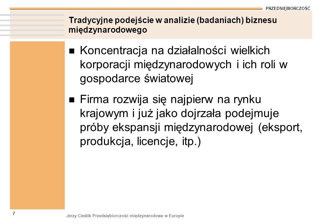 PRZEDSIĘBIORCZOŚĆ Jerzy Cieślik Przedsiębiorczość międzynarodowa w Europie 7 Tradycyjne podejście w analizie (badaniach) biznesu międzynarodowego Konc