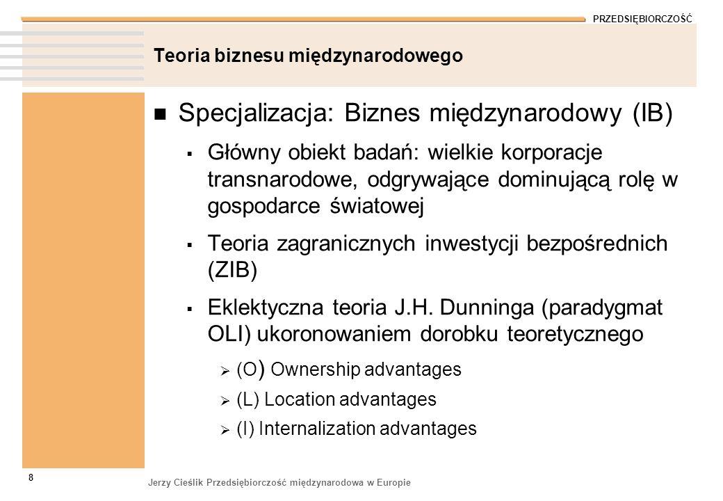 PRZEDSIĘBIORCZOŚĆ Jerzy Cieślik Przedsiębiorczość międzynarodowa w Europie 8 Teoria biznesu międzynarodowego Specjalizacja: Biznes międzynarodowy (IB)