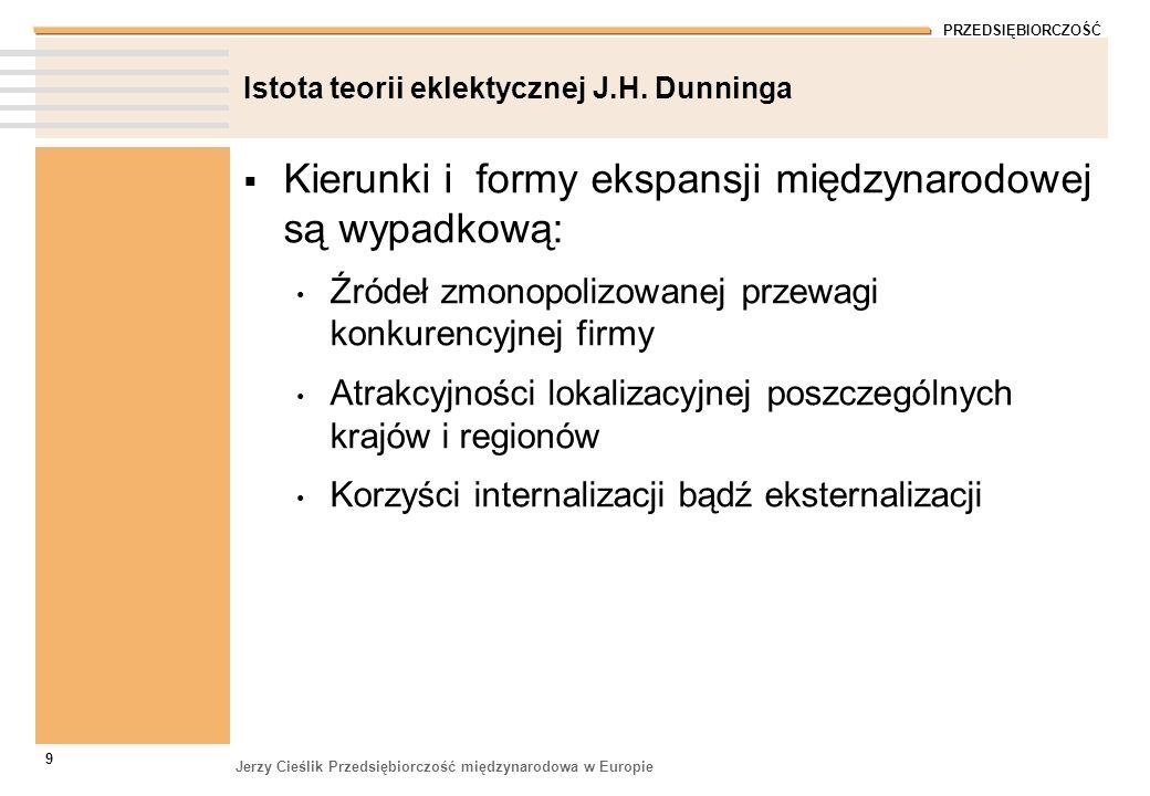 PRZEDSIĘBIORCZOŚĆ Jerzy Cieślik Przedsiębiorczość międzynarodowa w Europie 9 Istota teorii eklektycznej J.H. Dunninga Kierunki i formy ekspansji międz