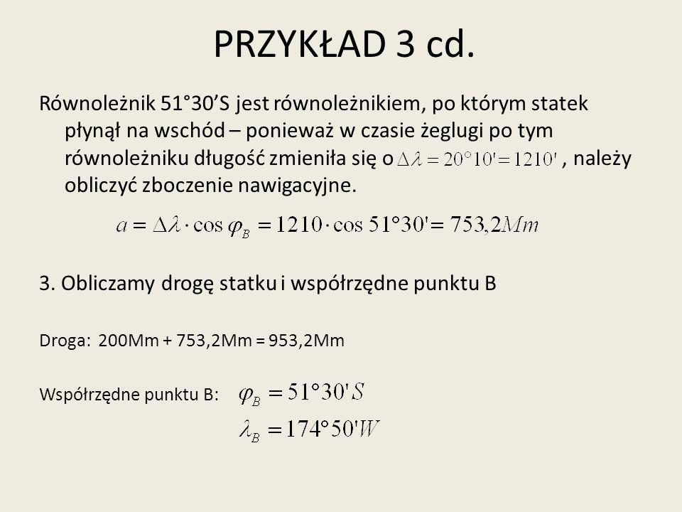 PRZYKŁAD 4 – ZAMIANA ZBOCZENIA NAWIGACYJNEGO NA RÓŻNICĘ DŁUGOŚĆ Punkt B jest oddalony w kierunku E o 1233,5 Mm od punktu A o współrzędnych.