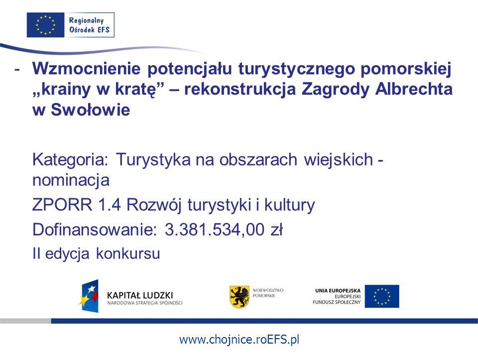 www.chojnice.roEFS.pl -Wzmocnienie potencjału turystycznego pomorskiej krainy w kratę – rekonstrukcja Zagrody Albrechta w Swołowie Kategoria: Turystyk