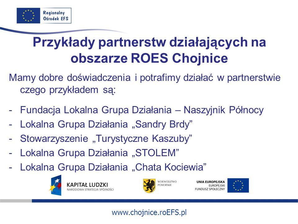 www.chojnice.roEFS.pl Przykłady partnerstw działających na obszarze ROES Chojnice Mamy dobre doświadczenia i potrafimy działać w partnerstwie czego pr