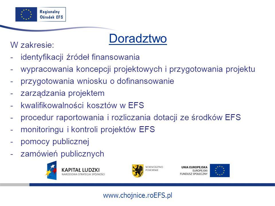 www.chojnice.roEFS.pl Doradztwo W zakresie: -identyfikacji źródeł finansowania -wypracowania koncepcji projektowych i przygotowania projektu -przygoto