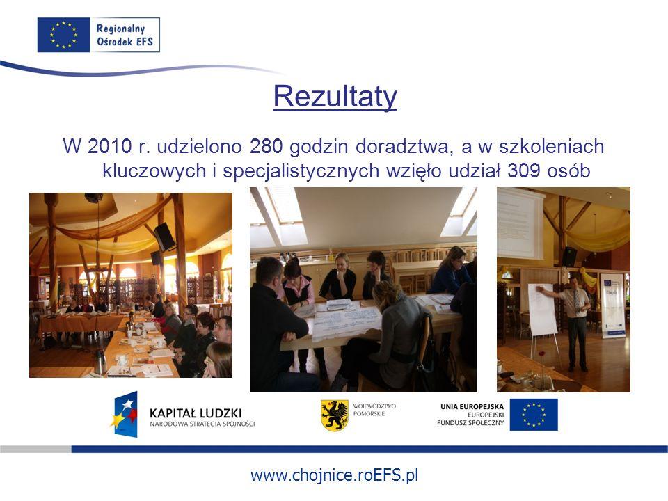 www.chojnice.roEFS.pl Rezultaty W 2010 r. udzielono 280 godzin doradztwa, a w szkoleniach kluczowych i specjalistycznych wzięło udział 309 osób