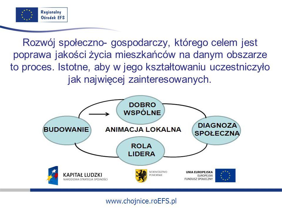 www.chojnice.roEFS.pl Rozwój społeczno- gospodarczy, którego celem jest poprawa jakości życia mieszkańców na danym obszarze to proces. Istotne, aby w