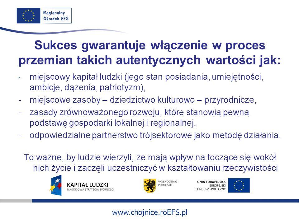 www.chojnice.roEFS.pl Sukces gwarantuje włączenie w proces przemian takich autentycznych wartości jak: - miejscowy kapitał ludzki (jego stan posiadania, umiejętności, ambicje, dążenia, patriotyzm), -miejscowe zasoby – dziedzictwo kulturowo – przyrodnicze, -zasady zrównoważonego rozwoju, które stanowią pewną podstawę gospodarki lokalnej i regionalnej, -odpowiedzialne partnerstwo trójsektorowe jako metodę działania.