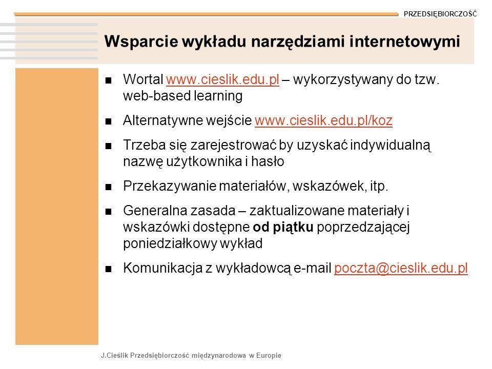 PRZEDSIĘBIORCZOŚĆ J.Cieślik Przedsiębiorczość międzynarodowa w Europie Wsparcie wykładu narzędziami internetowymi Wortal www.cieslik.edu.pl – wykorzys