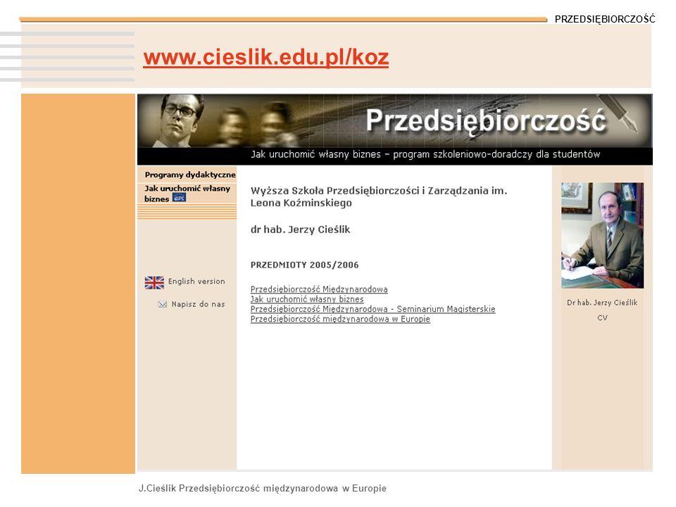 PRZEDSIĘBIORCZOŚĆ J.Cieślik Przedsiębiorczość międzynarodowa w Europie www.cieslik.edu.pl/koz