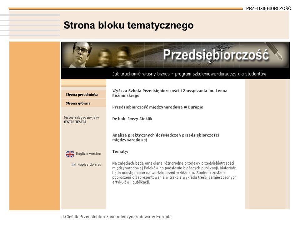PRZEDSIĘBIORCZOŚĆ J.Cieślik Przedsiębiorczość międzynarodowa w Europie Strona bloku tematycznego