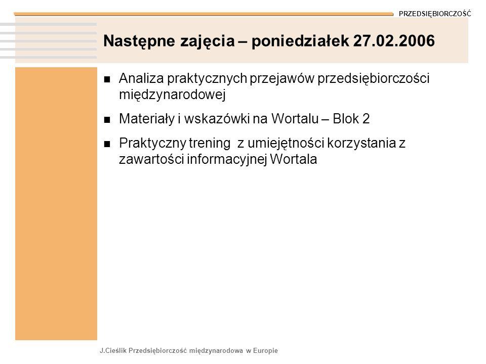PRZEDSIĘBIORCZOŚĆ J.Cieślik Przedsiębiorczość międzynarodowa w Europie Następne zajęcia – poniedziałek 27.02.2006 Analiza praktycznych przejawów przed