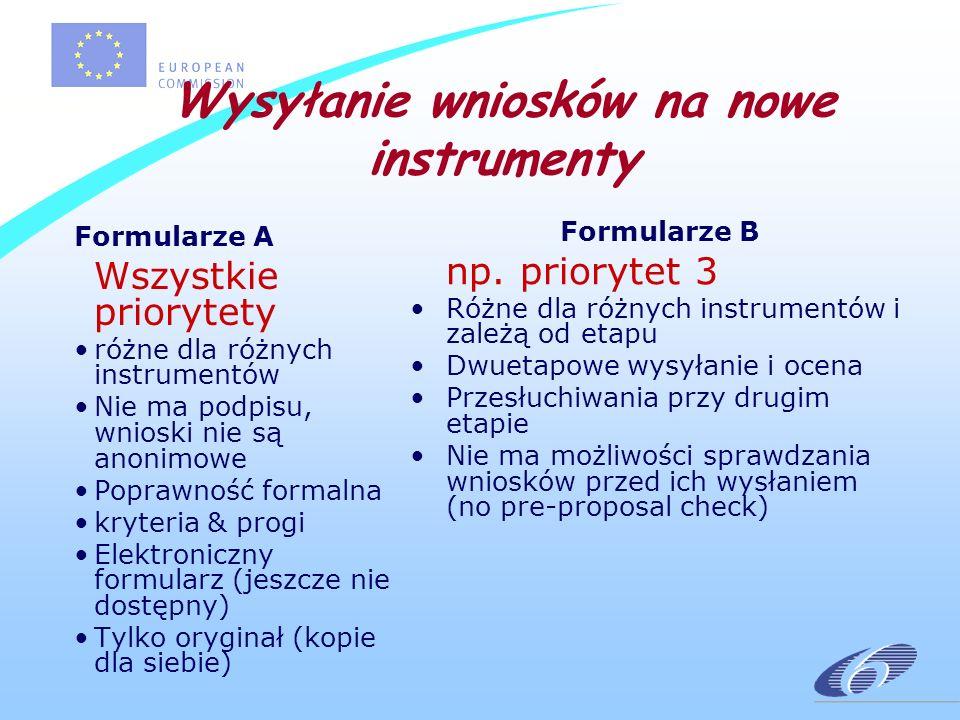 Wysyłanie wniosków na nowe instrumenty Formularze A Wszystkie priorytety różne dla różnych instrumentów Nie ma podpisu, wnioski nie są anonimowe Poprawność formalna kryteria & progi Elektroniczny formularz (jeszcze nie dostępny) Tylko oryginał (kopie dla siebie) Formularze B np.