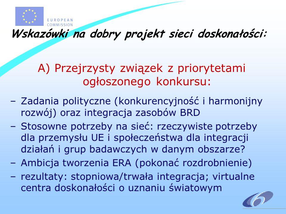 Wskazówki na dobry projekt sieci doskonałości: A) Przejrzysty związek z priorytetami ogłoszonego konkursu: –Zadania polityczne (konkurencyjność i harmonijny rozwój) oraz integracja zasobów BRD –Stosowne potrzeby na sieć: rzeczywiste potrzeby dla przemysłu UE i społeczeństwa dla integracji działań i grup badawczych w danym obszarze.