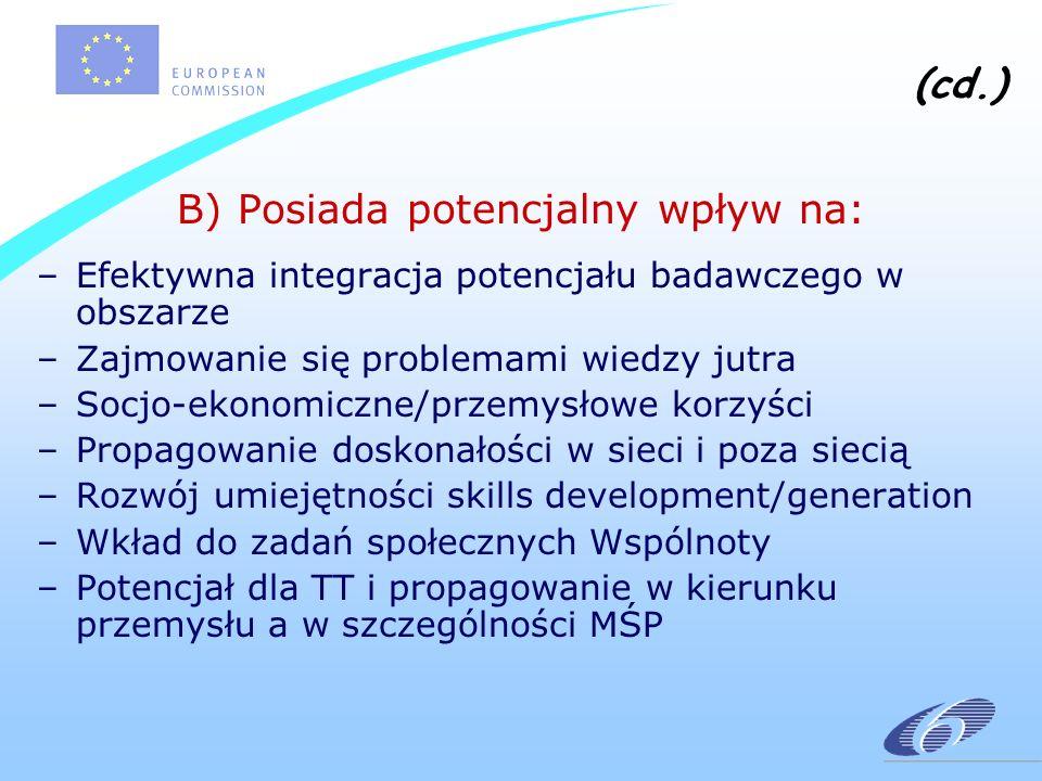 (cd.) B) Posiada potencjalny wpływ na: –Efektywna integracja potencjału badawczego w obszarze –Zajmowanie się problemami wiedzy jutra –Socjo-ekonomiczne/przemysłowe korzyści –Propagowanie doskonałości w sieci i poza siecią –Rozwój umiejętności skills development/generation –Wkład do zadań społecznych Wspólnoty –Potencjał dla TT i propagowanie w kierunku przemysłu a w szczególności MŚP