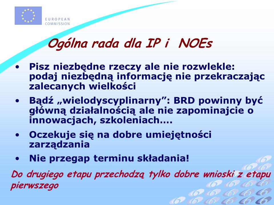Ogólna rada dla IP i NOEs Pisz niezbędne rzeczy ale nie rozwlekle: podaj niezbędną informację nie przekraczając zalecanych wielkości Bądź wielodyscyplinarny: BRD powinny być główną działalnością ale nie zapominajcie o innowacjach, szkoleniach….